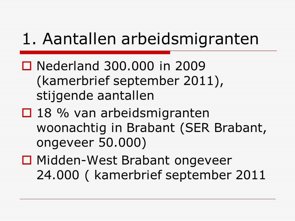 1. Aantallen arbeidsmigranten  Nederland 300.000 in 2009 (kamerbrief september 2011), stijgende aantallen  18 % van arbeidsmigranten woonachtig in B