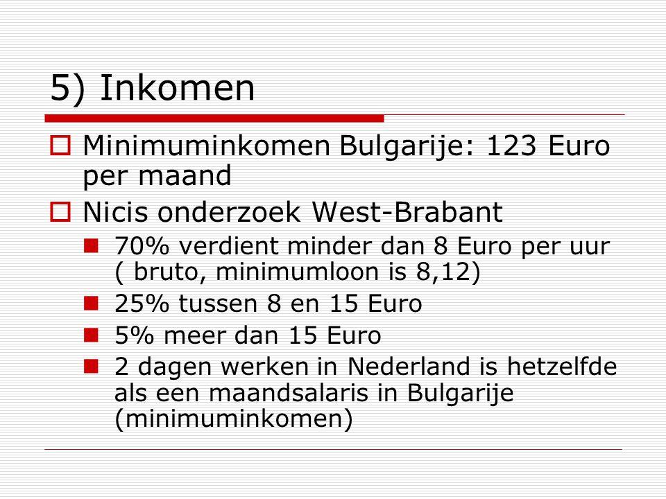 5) Inkomen  Minimuminkomen Bulgarije: 123 Euro per maand  Nicis onderzoek West-Brabant 70% verdient minder dan 8 Euro per uur ( bruto, minimumloon i