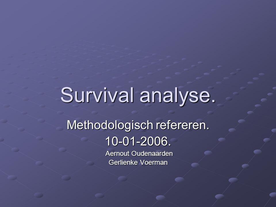 iets over survival analyse De log-rank test die twee groepen vergelijkt geeft voor elke groep een geobserveerd (o) en een verwacht (e) aantal gebeurtenissen.