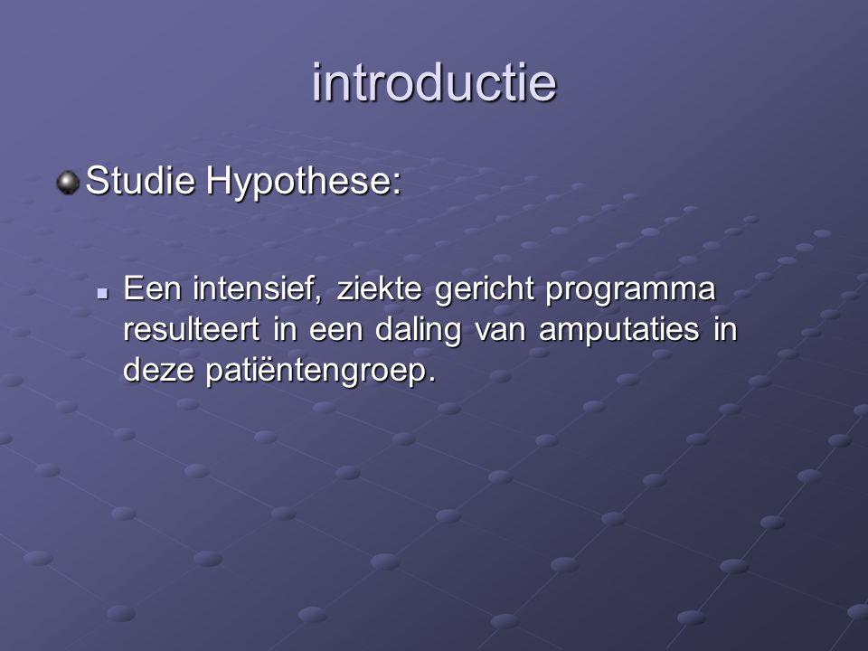 introductie Studie Hypothese: Een intensief, ziekte gericht programma resulteert in een daling van amputaties in deze patiëntengroep. Een intensief, z