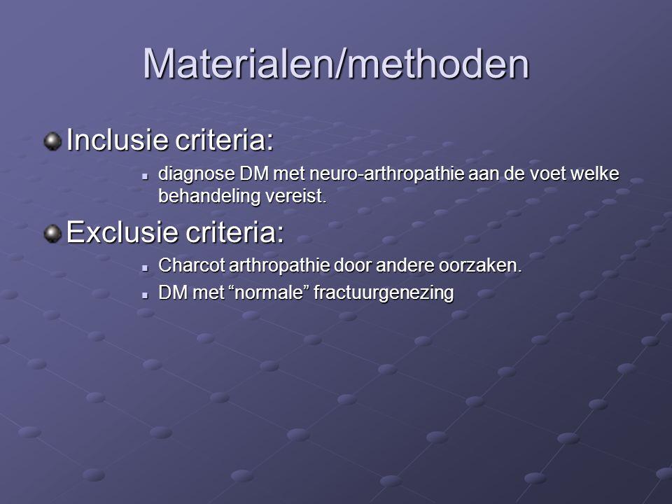 Materialen/methoden Inclusie criteria: diagnose DM met neuro-arthropathie aan de voet welke behandeling vereist. diagnose DM met neuro-arthropathie aa