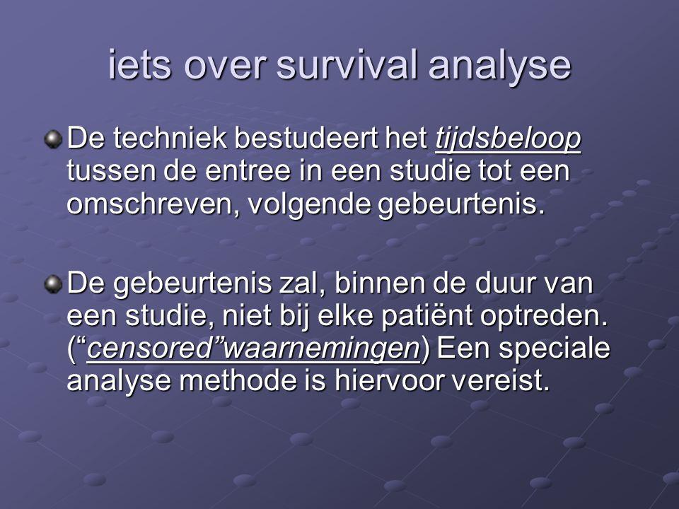 iets over survival analyse De techniek bestudeert het tijdsbeloop tussen de entree in een studie tot een omschreven, volgende gebeurtenis. De gebeurte