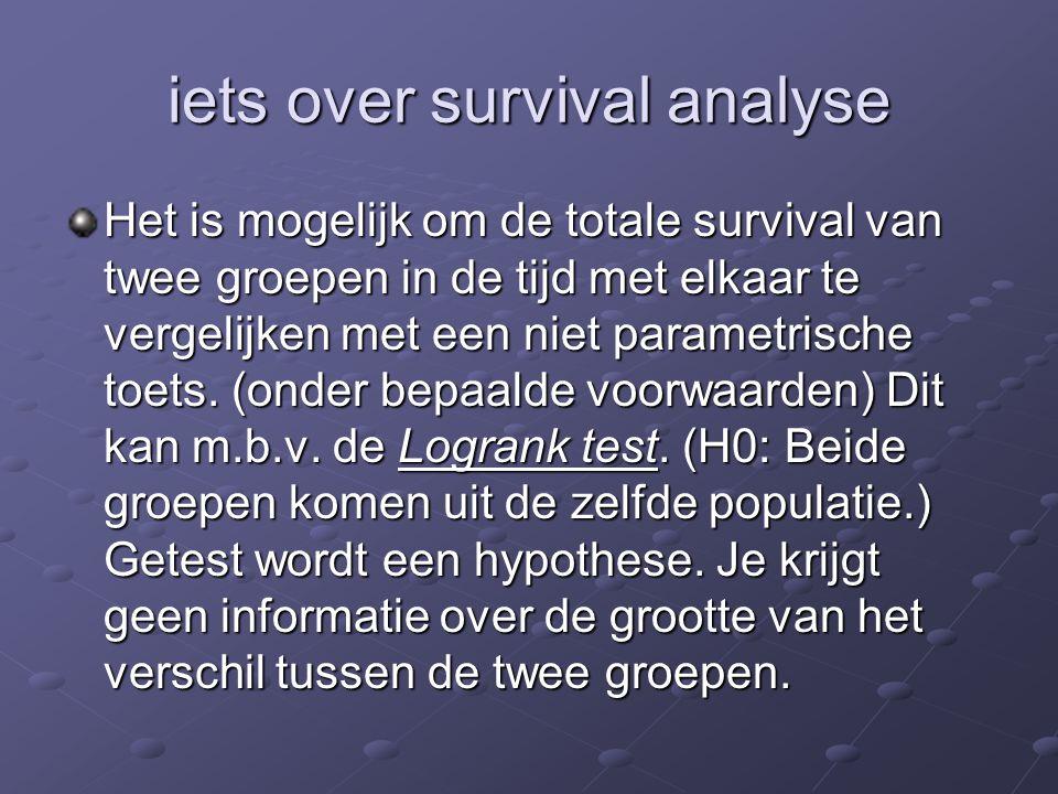 iets over survival analyse Het is mogelijk om de totale survival van twee groepen in de tijd met elkaar te vergelijken met een niet parametrische toet