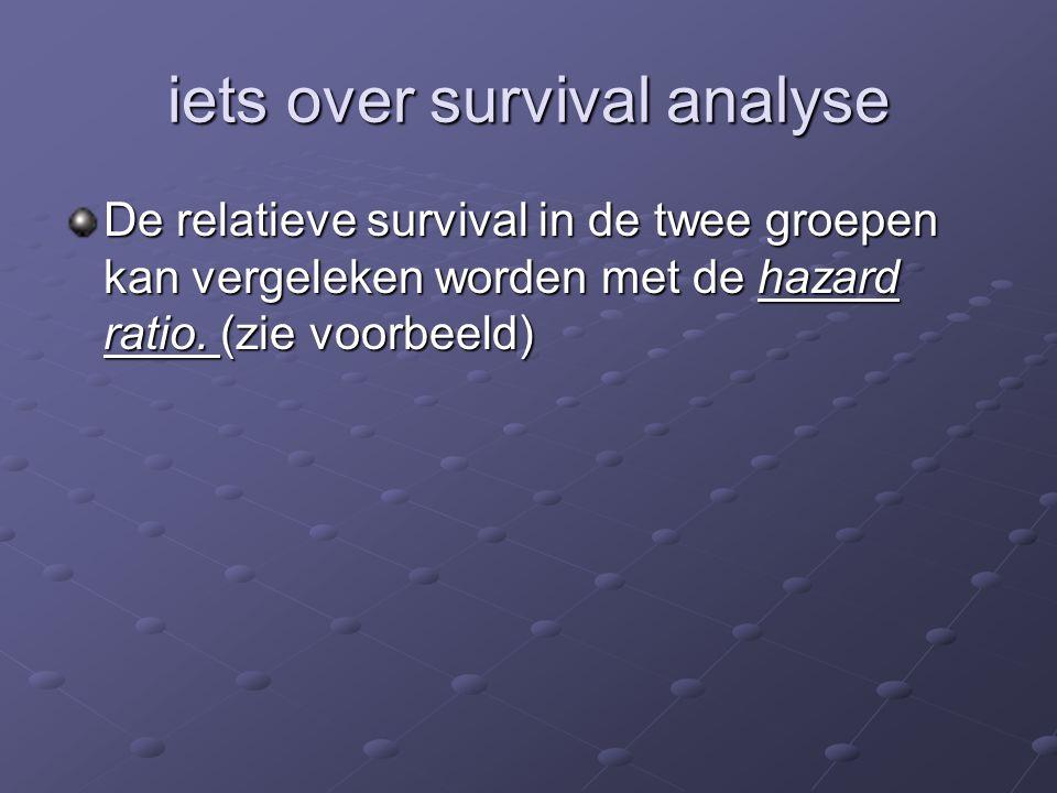 iets over survival analyse De relatieve survival in de twee groepen kan vergeleken worden met de hazard ratio. (zie voorbeeld)