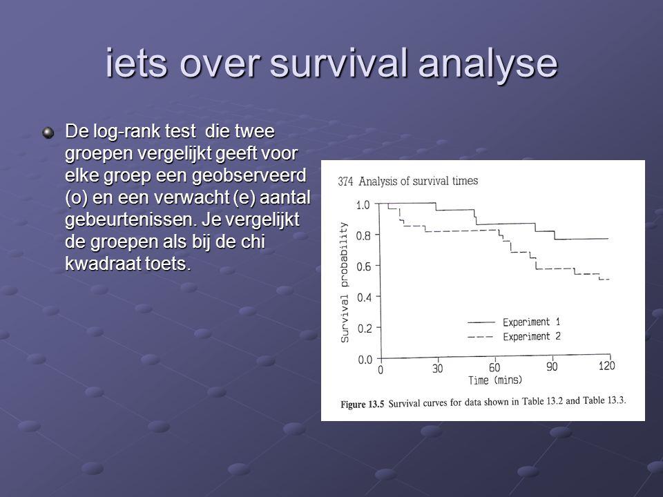 iets over survival analyse De log-rank test die twee groepen vergelijkt geeft voor elke groep een geobserveerd (o) en een verwacht (e) aantal gebeurte