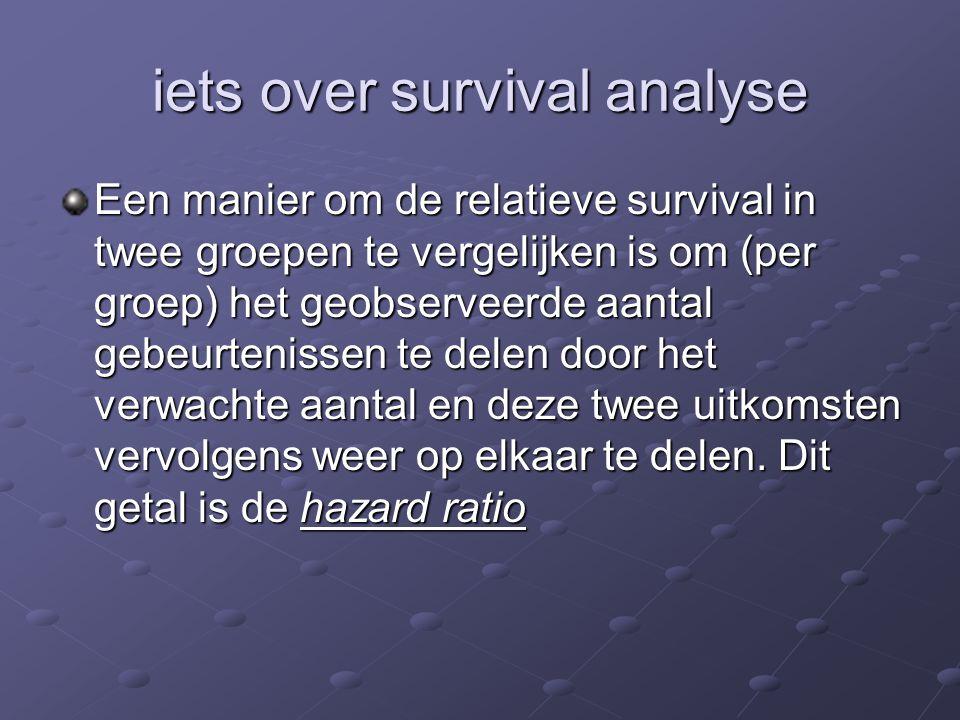 iets over survival analyse Een manier om de relatieve survival in twee groepen te vergelijken is om (per groep) het geobserveerde aantal gebeurtenisse