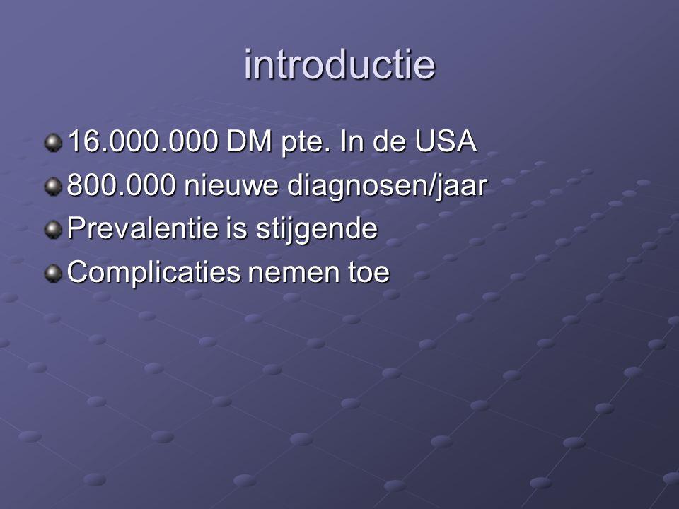 introductie 16.000.000 DM pte. In de USA 800.000 nieuwe diagnosen/jaar Prevalentie is stijgende Complicaties nemen toe
