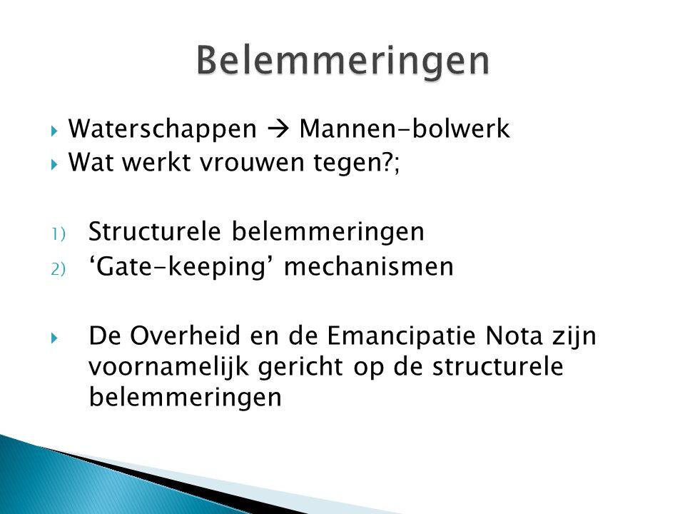  Waterschappen  Mannen-bolwerk  Wat werkt vrouwen tegen ; 1) Structurele belemmeringen 2) 'Gate-keeping' mechanismen  De Overheid en de Emancipatie Nota zijn voornamelijk gericht op de structurele belemmeringen