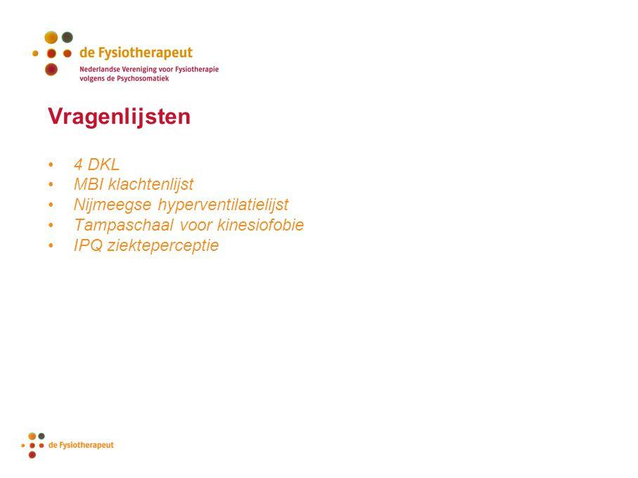 4 DKL MBI klachtenlijst Nijmeegse hyperventilatielijst Tampaschaal voor kinesiofobie IPQ ziekteperceptie Vragenlijsten