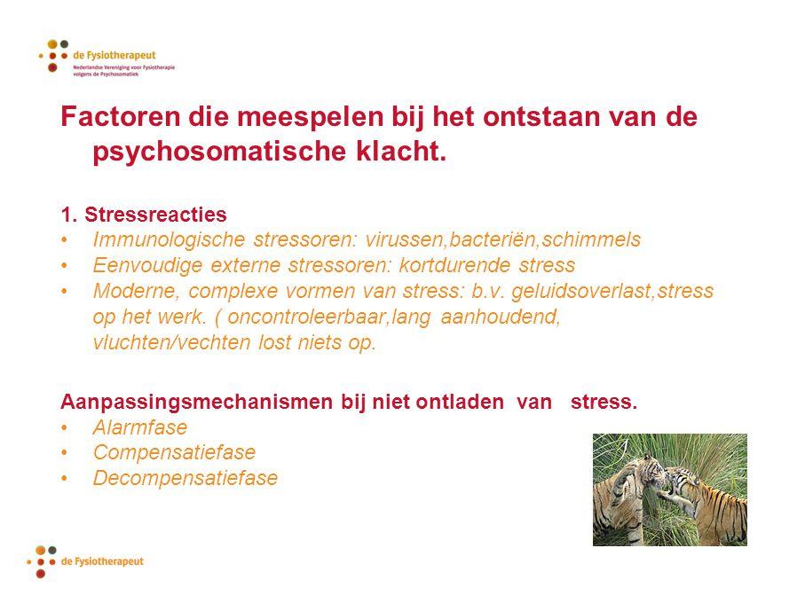 Factoren die meespelen bij het ontstaan van de psychosomatische klacht. 1. Stressreacties Immunologische stressoren: virussen,bacteriën,schimmels Eenv