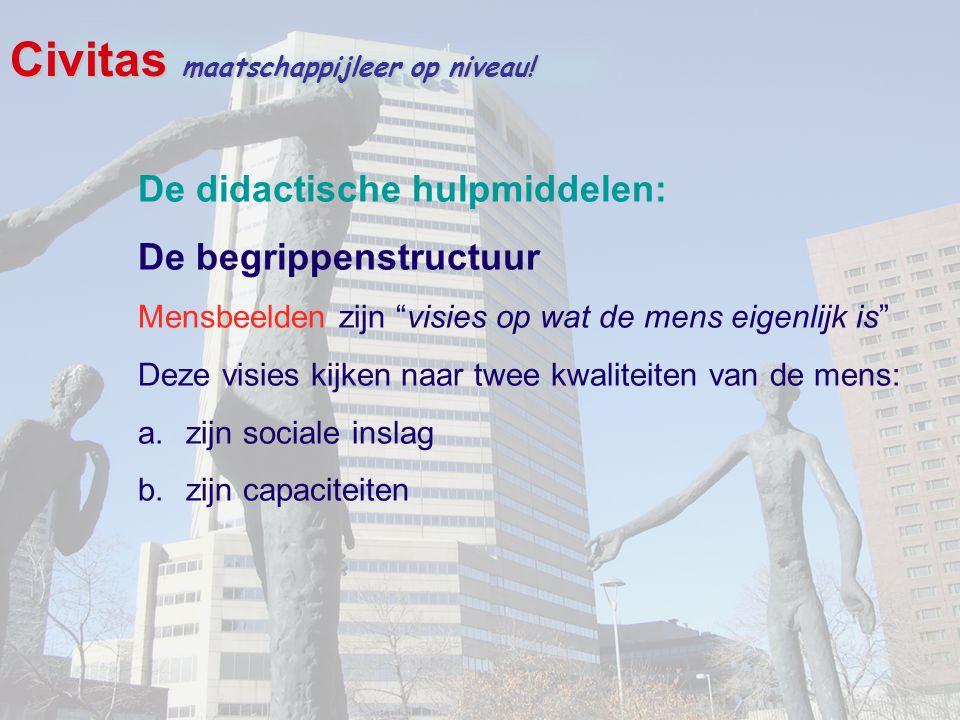 """Civitas maatschappijleer op niveau! De didactische hulpmiddelen: De begrippenstructuur Mensbeelden zijn """"visies op wat de mens eigenlijk is"""" Deze visi"""