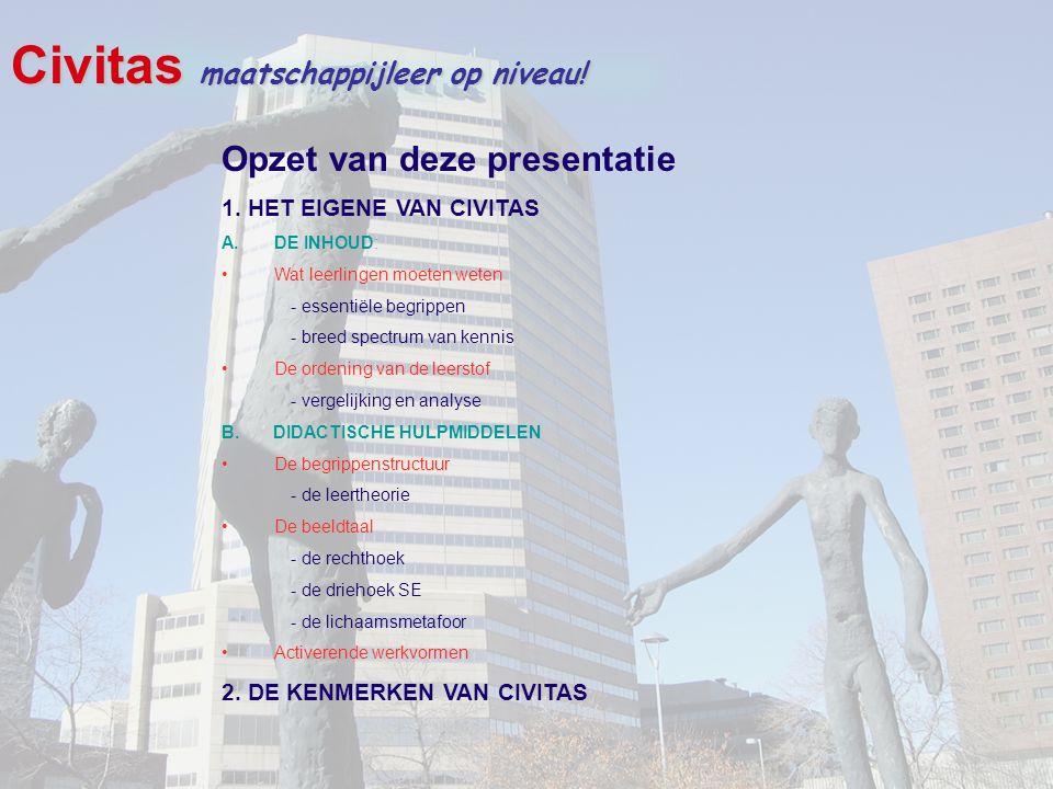 Civitas maatschappijleer op niveau! Opzet van deze presentatie 1. HET EIGENE VAN CIVITAS A.DE INHOUD: Wat leerlingen moeten weten - essentiële begripp