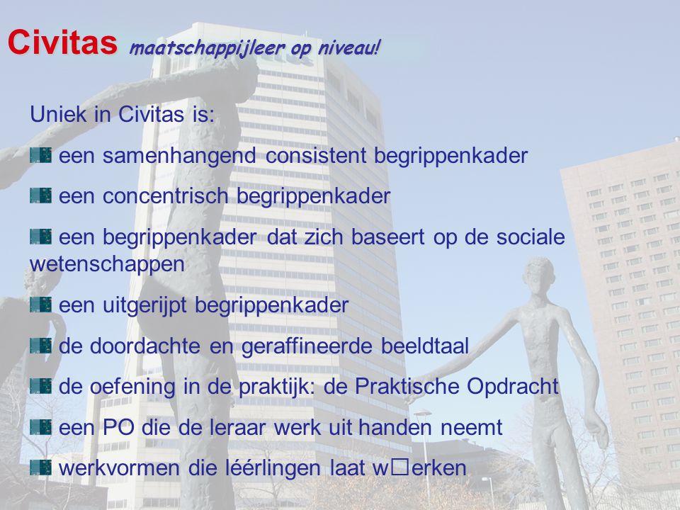 Civitas maatschappijleer op niveau! Uniek in Civitas is: een samenhangend consistent begrippenkader een concentrisch begrippenkader een begrippenkader