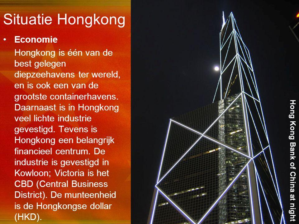 31 Situatie Hongkong Economie Hongkong is één van de best gelegen diepzeehavens ter wereld, en is ook een van de grootste containerhavens. Daarnaast i