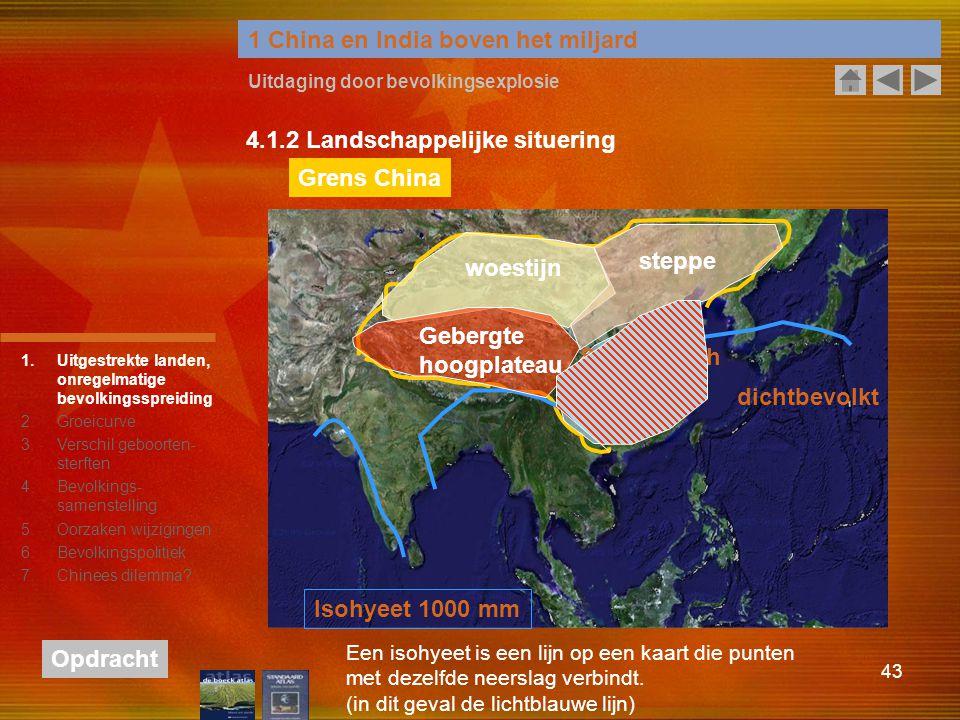 43 1 China en India boven het miljard Uitdaging door bevolkingsexplosie 4.1.2 Landschappelijke situering Isohyeet 1000 mm Grens China woestijn Gebergt