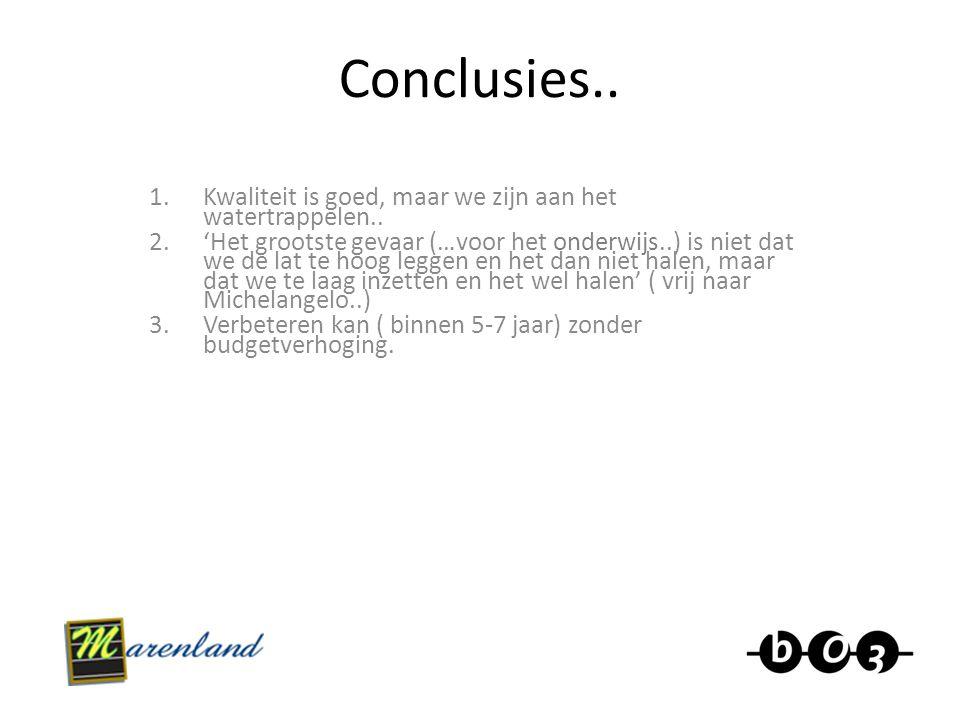 Conclusies.. 1.Kwaliteit is goed, maar we zijn aan het watertrappelen.. 2.'Het grootste gevaar (…voor het onderwijs..) is niet dat we de lat te hoog l