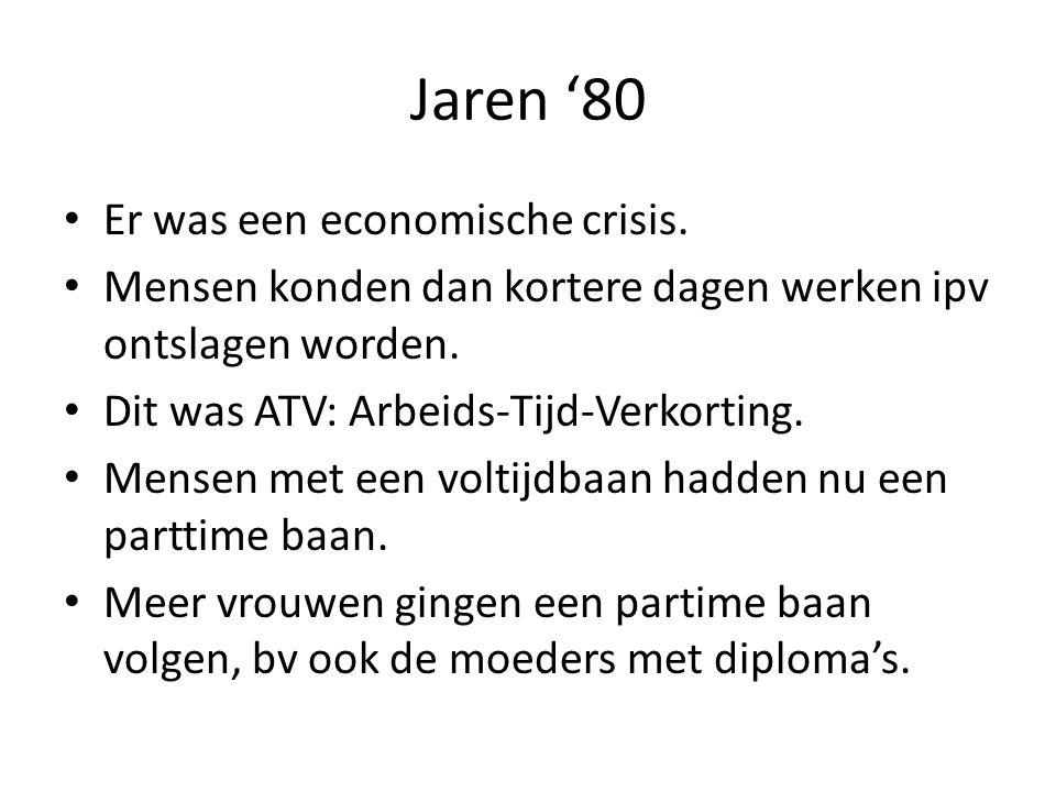 Jaren '80 Er was een economische crisis. Mensen konden dan kortere dagen werken ipv ontslagen worden. Dit was ATV: Arbeids-Tijd-Verkorting. Mensen met