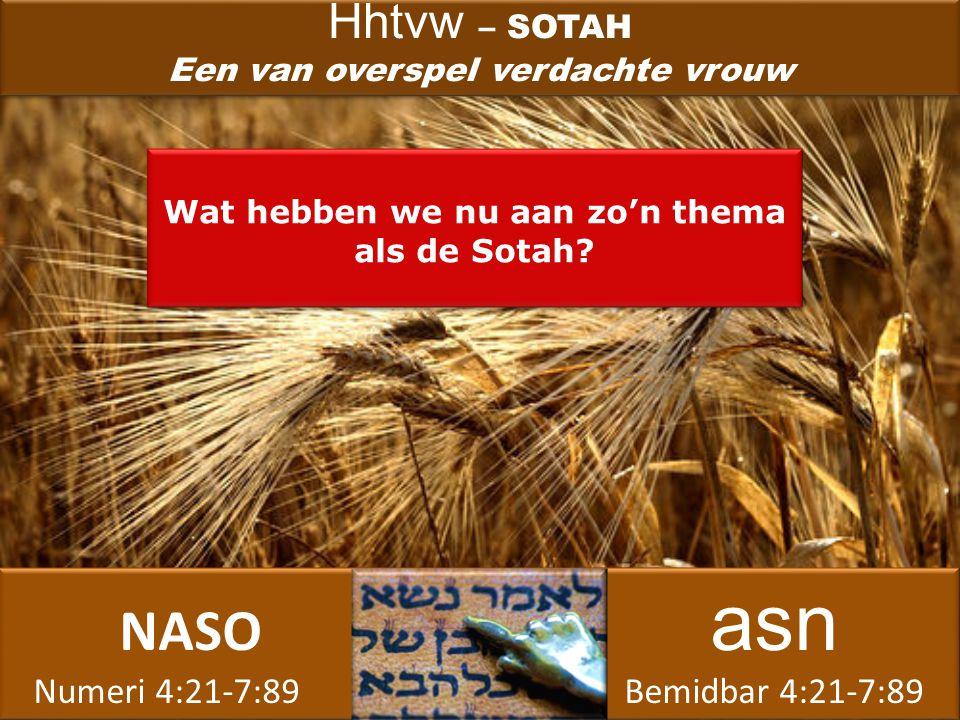 NASO asn Numeri 4:21-7:89 Bemidbar 4:21-7:89 NASO asn Numeri 4:21-7:89 Bemidbar 4:21-7:89 Wat hebben we nu aan zo'n thema als de Sotah.