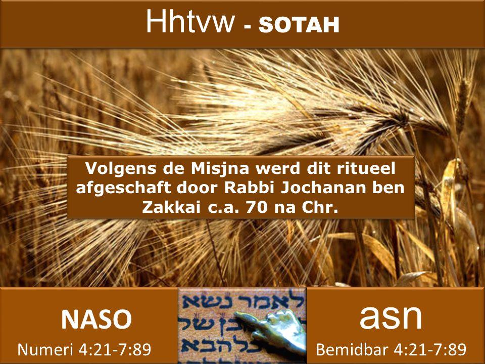 NASO asn Numeri 4:21-7:89 Bemidbar 4:21-7:89 NASO asn Numeri 4:21-7:89 Bemidbar 4:21-7:89 Volgens de Misjna werd dit ritueel afgeschaft door Rabbi Jochanan ben Zakkai c.a.