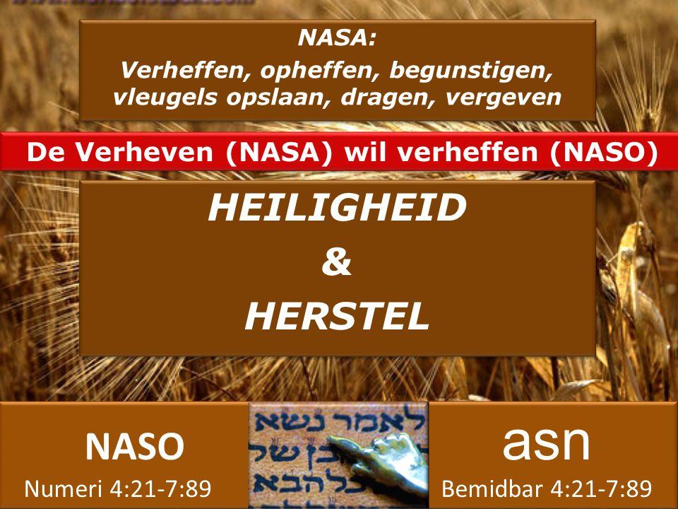 NASO asn Numeri 4:21-7:89 Bemidbar 4:21-7:89 NASO asn Numeri 4:21-7:89 Bemidbar 4:21-7:89 NASA: Verheffen, opheffen, begunstigen, vleugels opslaan, dragen, vergeven NASA: Verheffen, opheffen, begunstigen, vleugels opslaan, dragen, vergeven HEILIGHEID & HERSTEL HEILIGHEID & HERSTEL De Verheven (NASA) wil verheffen (NASO)