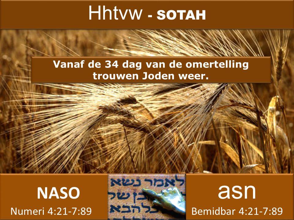 NASO asn Numeri 4:21-7:89 Bemidbar 4:21-7:89 NASO asn Numeri 4:21-7:89 Bemidbar 4:21-7:89 Vanaf de 34 dag van de omertelling trouwen Joden weer.