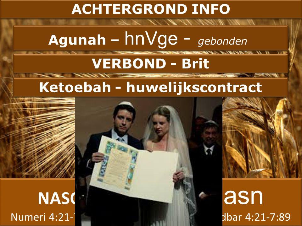 NASO asn Numeri 4:21-7:89 Bemidbar 4:21-7:89 NASO asn Numeri 4:21-7:89 Bemidbar 4:21-7:89 ACHTERGROND INFO Agunah – hnVge - gebonden Ketoebah - huwelijkscontract VERBOND - Brit