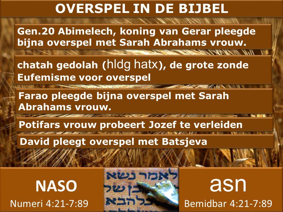 NASO asn Numeri 4:21-7:89 Bemidbar 4:21-7:89 NASO asn Numeri 4:21-7:89 Bemidbar 4:21-7:89 OVERSPEL IN DE BIJBEL Farao pleegde bijna overspel met Sarah Abrahams vrouw.