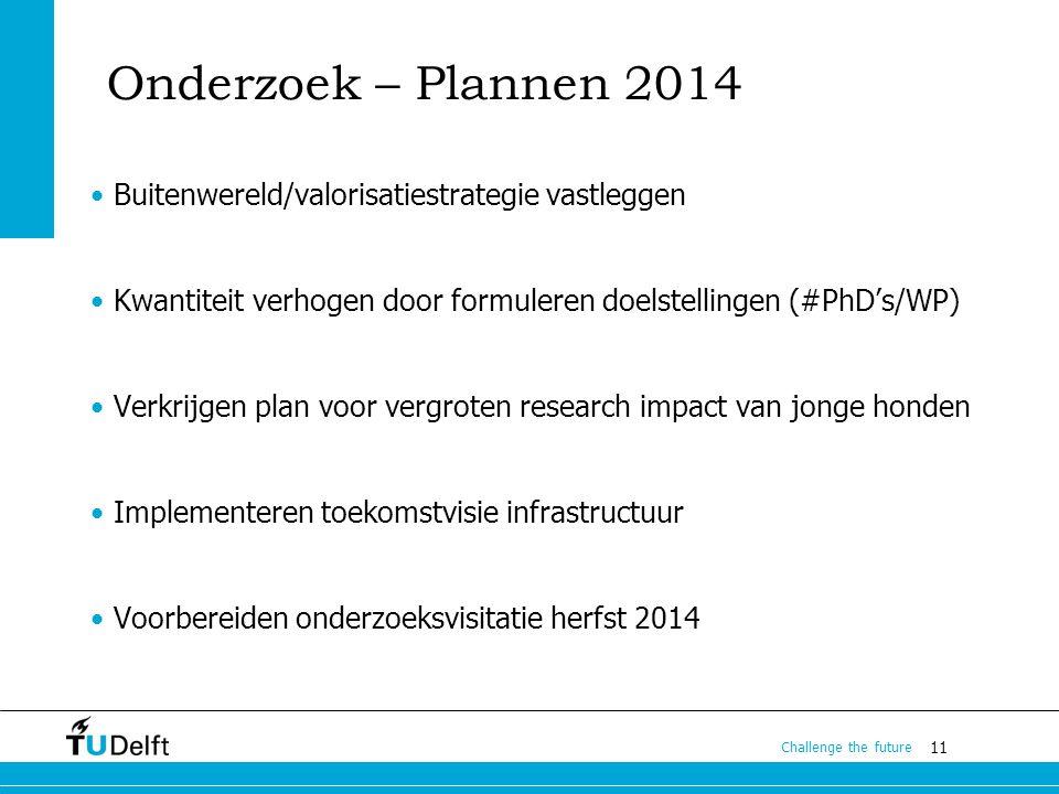 11 Challenge the future Onderzoek – Plannen 2014 Buitenwereld/valorisatiestrategie vastleggen Kwantiteit verhogen door formuleren doelstellingen (#PhD