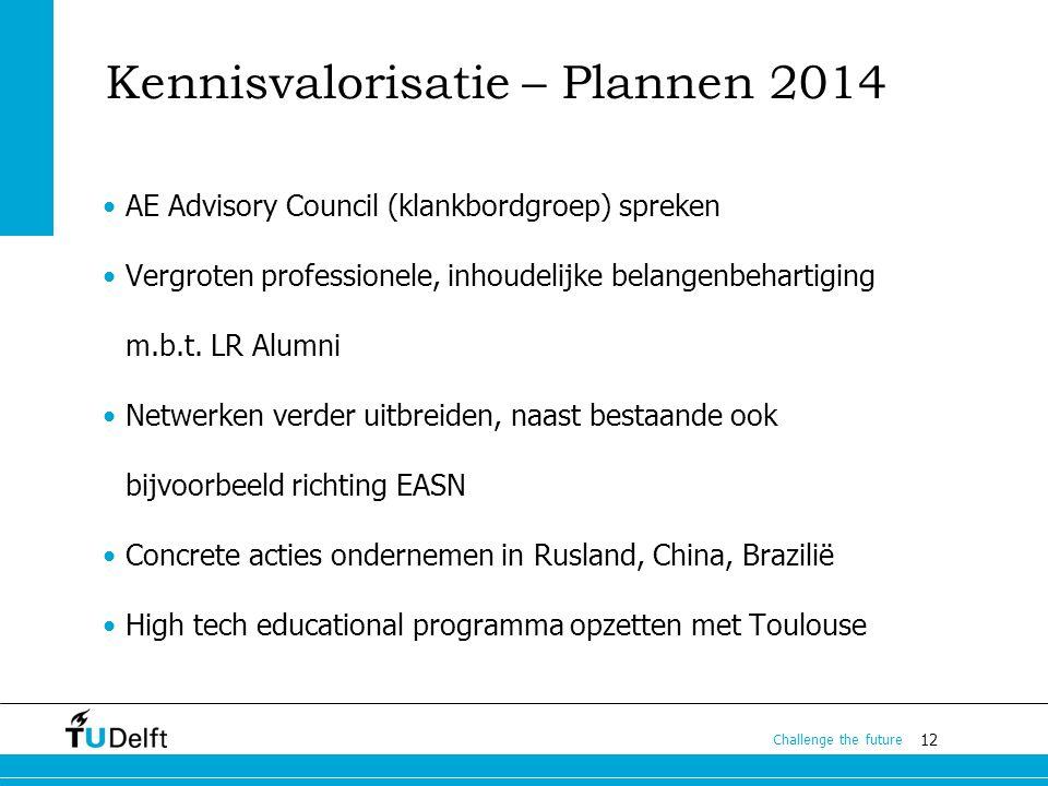12 Challenge the future Kennisvalorisatie – Plannen 2014 AE Advisory Council (klankbordgroep) spreken Vergroten professionele, inhoudelijke belangenbehartiging m.b.t.