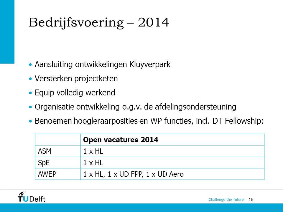 16 Challenge the future Bedrijfsvoering – 2014 Aansluiting ontwikkelingen Kluyverpark Versterken projectketen Equip volledig werkend Organisatie ontwi