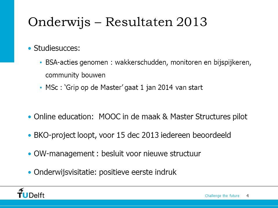 4 Challenge the future Onderwijs – Resultaten 2013 Studiesucces: BSA-acties genomen : wakkerschudden, monitoren en bijspijkeren, community bouwen MSc