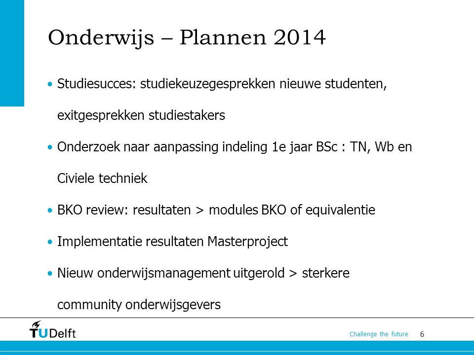6 Challenge the future Onderwijs – Plannen 2014 Studiesucces: studiekeuzegesprekken nieuwe studenten, exitgesprekken studiestakers Onderzoek naar aanp