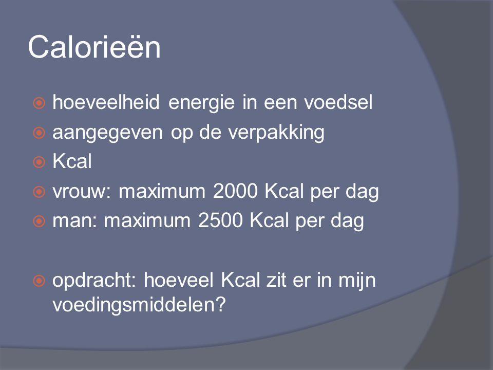 Calorieën  hoeveelheid energie in een voedsel  aangegeven op de verpakking  Kcal  vrouw: maximum 2000 Kcal per dag  man: maximum 2500 Kcal per da