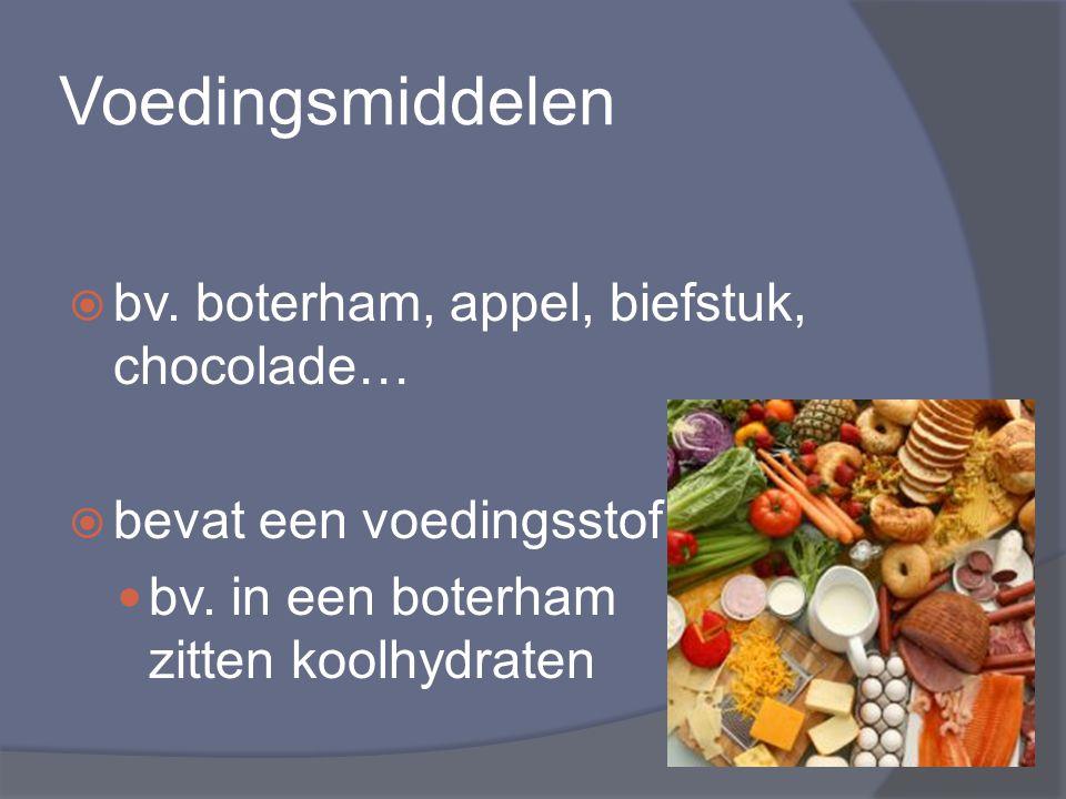Voedingsmiddelen  bv. boterham, appel, biefstuk, chocolade…  bevat een voedingsstof bv. in een boterham zitten koolhydraten