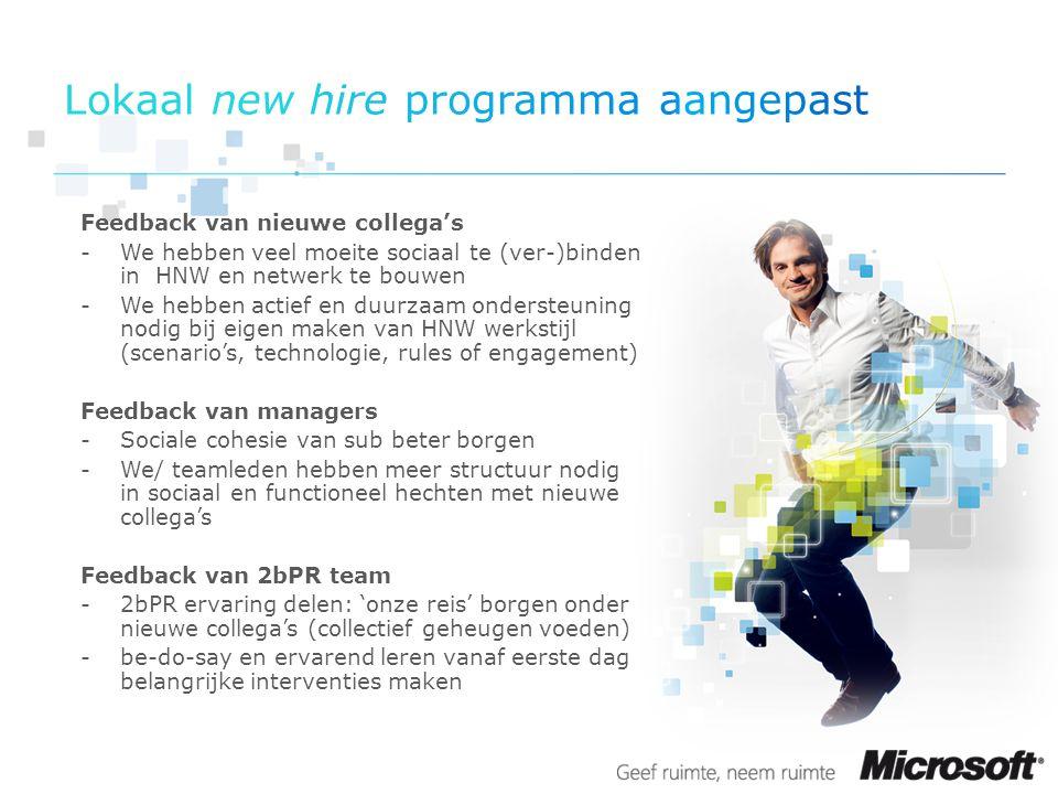 Verplicht lokaal programma voor alle NL new hires Frequentie: 1x per maand (1 e dag van de maand) Dialoog + hands on lab Ervaringen delen - Hoe eerste maand ervaren.