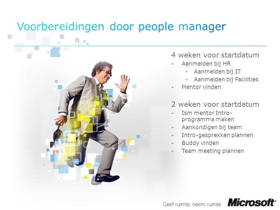 4 weken voor startdatum -Aanmelden bij HR -Aanmelden bij IT -Aanmelden bij Facilities -Mentor vinden 2 weken voor startdatum -Ism mentor Intro- progra