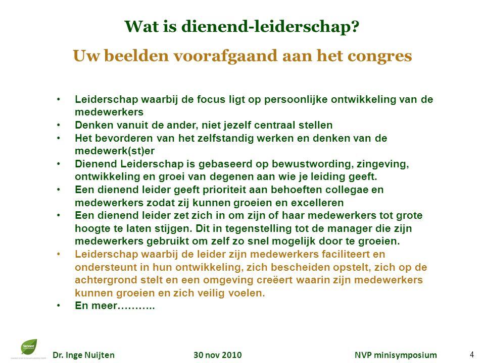 Dr. Inge Nuijten 30 nov 2010 NVP minisymposium 4 Wat is dienend-leiderschap? Uw beelden voorafgaand aan het congres Leiderschap waarbij de focus ligt