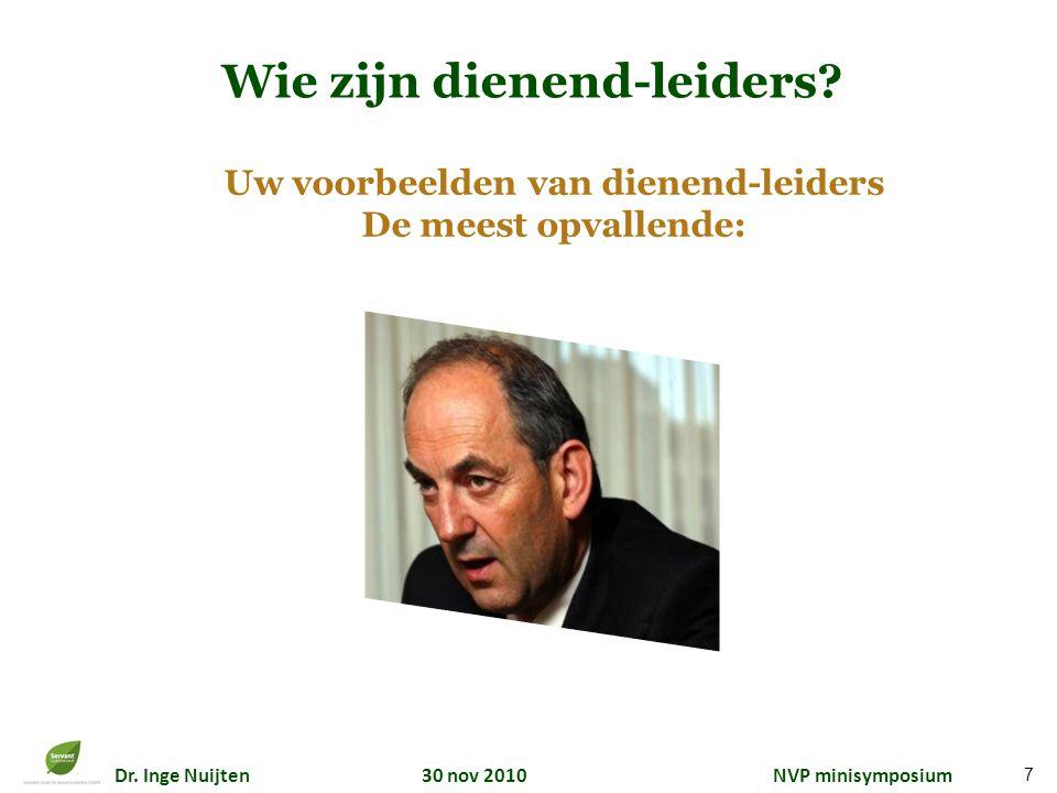 Dr. Inge Nuijten 30 nov 2010 NVP minisymposium Wie zijn dienend-leiders? Uw voorbeelden van dienend-leiders De meest opvallende: 7
