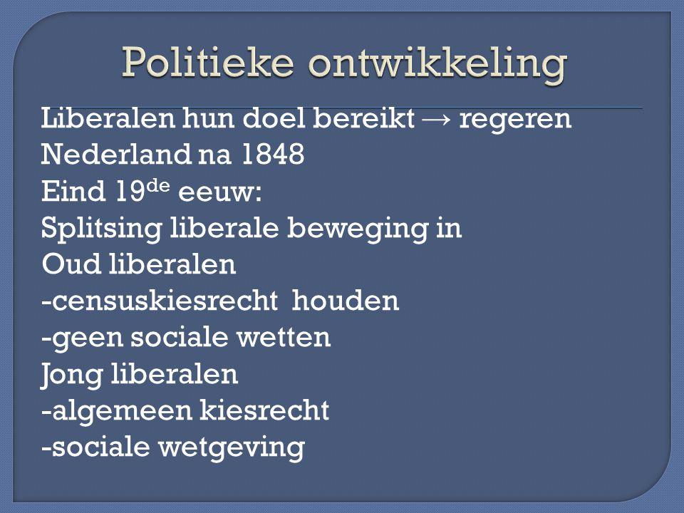 Liberalen hun doel bereikt → regeren Nederland na 1848 Eind 19 de eeuw: Splitsing liberale beweging in Oud liberalen -censuskiesrecht houden -geen soc
