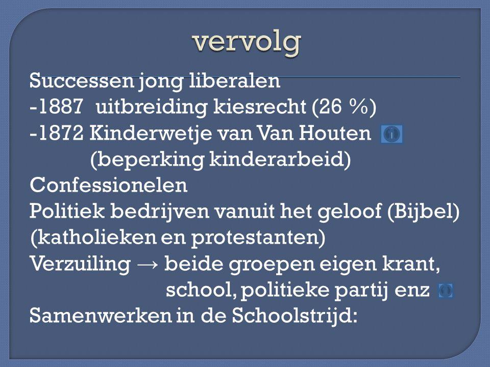Successen jong liberalen -1887 uitbreiding kiesrecht (26 %) -1872 Kinderwetje van Van Houten (beperking kinderarbeid) Confessionelen Politiek bedrijve