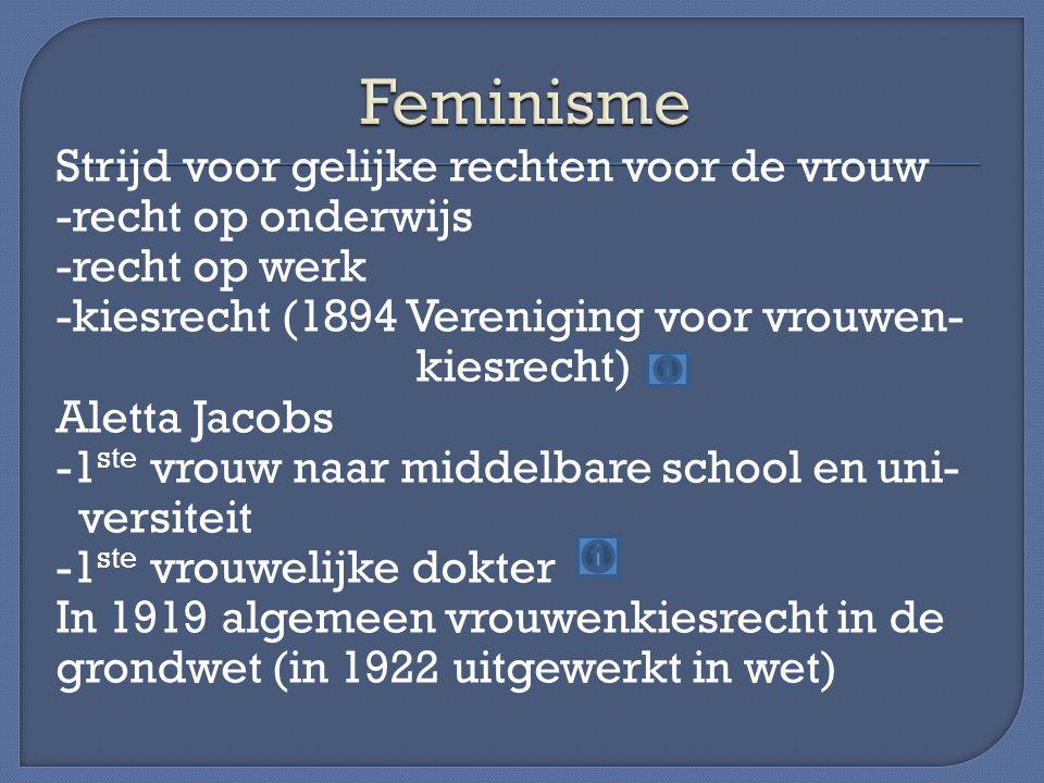 Strijd voor gelijke rechten voor de vrouw -recht op onderwijs -recht op werk -kiesrecht (1894 Vereniging voor vrouwen- kiesrecht) Aletta Jacobs -1 ste