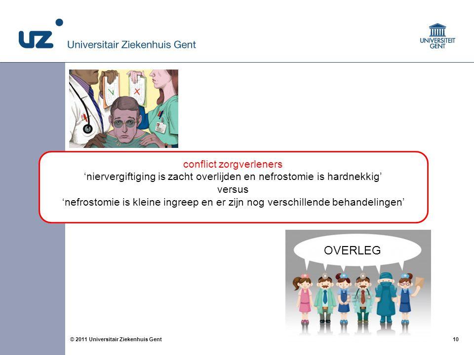 10© 2011 Universitair Ziekenhuis Gent OVERLEG conflict zorgverleners 'niervergiftiging is zacht overlijden en nefrostomie is hardnekkig' versus 'nefro