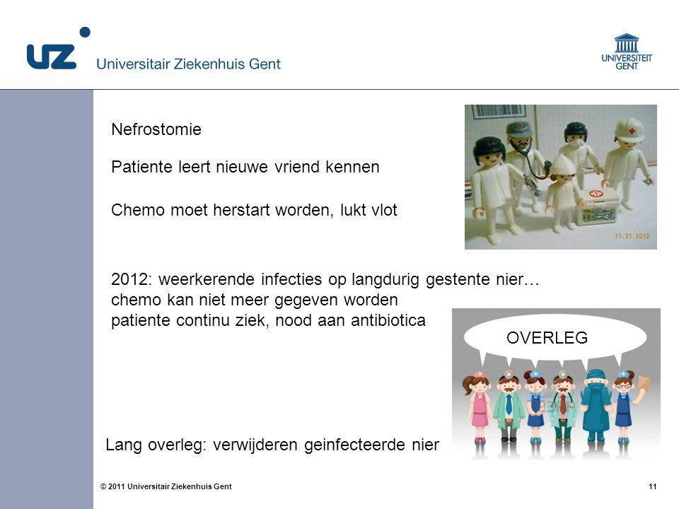 11© 2011 Universitair Ziekenhuis Gent Patiente leert nieuwe vriend kennen Chemo moet herstart worden, lukt vlot 2012: weerkerende infecties op langdur