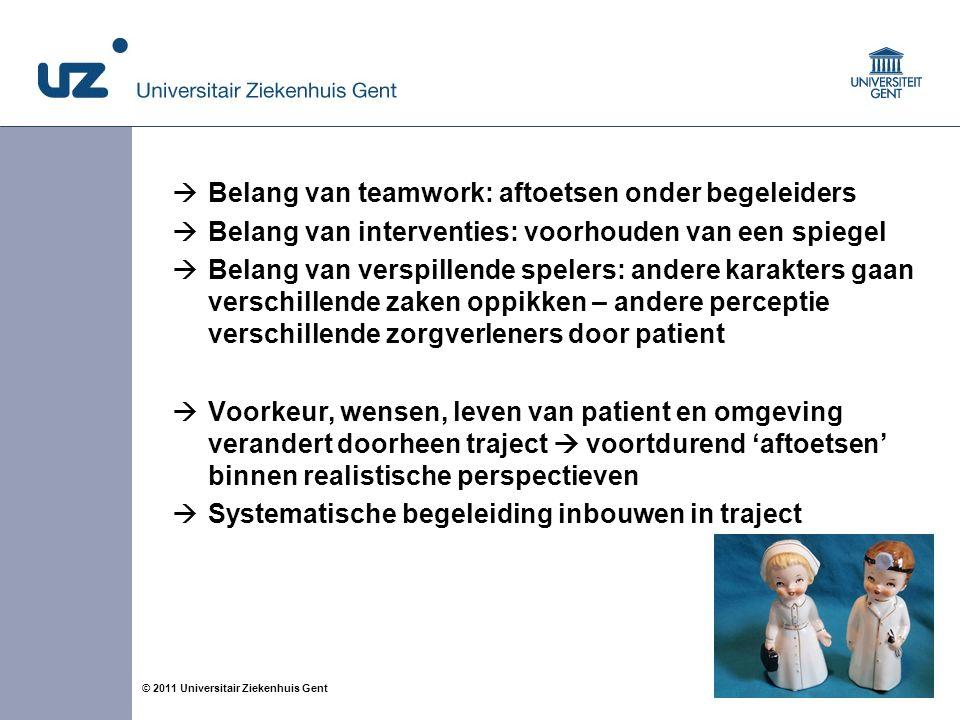 14© 2011 Universitair Ziekenhuis Gent  Belang van teamwork: aftoetsen onder begeleiders  Belang van interventies: voorhouden van een spiegel  Belan