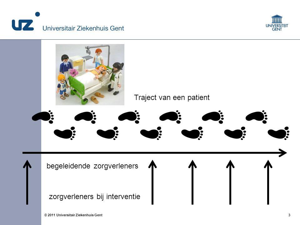 3© 2011 Universitair Ziekenhuis Gent Traject van een patient begeleidende zorgverleners zorgverleners bij interventie