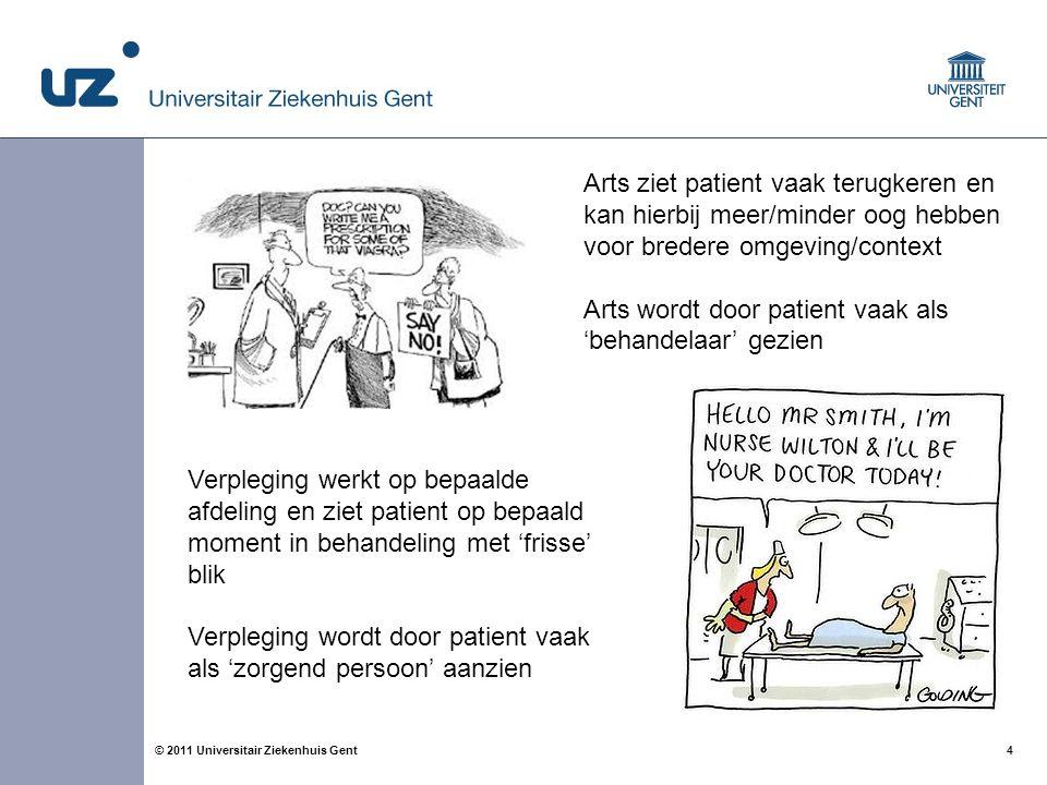 4© 2011 Universitair Ziekenhuis Gent Arts ziet patient vaak terugkeren en kan hierbij meer/minder oog hebben voor bredere omgeving/context Arts wordt