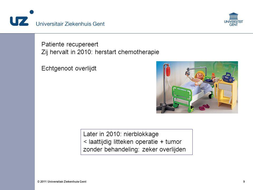 9© 2011 Universitair Ziekenhuis Gent Echtgenoot overlijdt Patiente recupereert Zij hervalt in 2010: herstart chemotherapie Later in 2010: nierblokkage