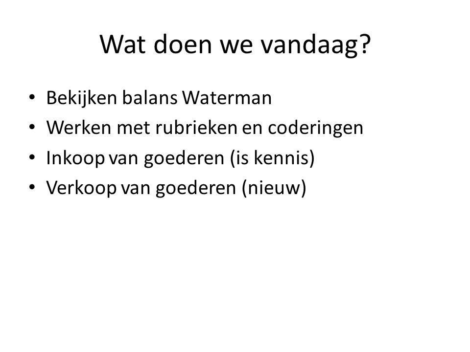 OV Waterman Debet Balans per 1 januari 2012 Credit 020 Inventaris19.700060 Eigen vermogen 040 Auto's11.900 D.