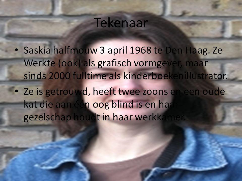 Tekenaar Saskia halfmouw 3 april 1968 te Den Haag. Ze Werkte (ook) als grafisch vormgever, maar sinds 2000 fulltime als kinderboekenillustrator. Ze is
