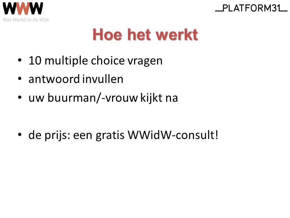 Hoe het werkt 10 multiple choice vragen antwoord invullen uw buurman/-vrouw kijkt na de prijs: een gratis WWidW-consult!